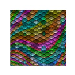 Fish Scales Pattern Background In Rainbow Colors Wallpaper Small Satin Scarf (Square)