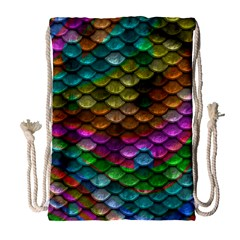 Fish Scales Pattern Background In Rainbow Colors Wallpaper Drawstring Bag (Large)