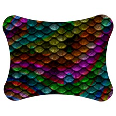 Fish Scales Pattern Background In Rainbow Colors Wallpaper Jigsaw Puzzle Photo Stand (Bow)