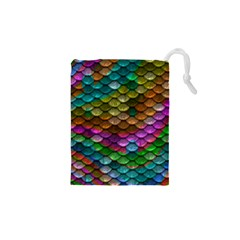 Fish Scales Pattern Background In Rainbow Colors Wallpaper Drawstring Pouches (XS)