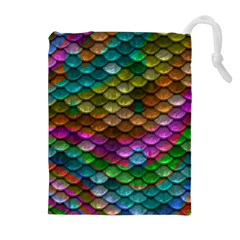 Fish Scales Pattern Background In Rainbow Colors Wallpaper Drawstring Pouches (Extra Large)