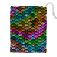 Fish Scales Pattern Background In Rainbow Colors Wallpaper Drawstring Pouches (xxl)