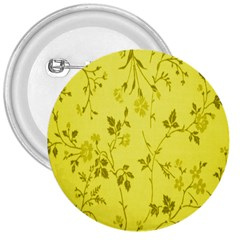 Flowery Yellow Fabric 3  Buttons