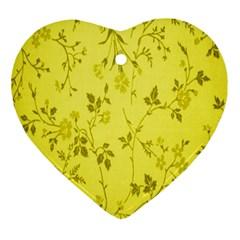 Flowery Yellow Fabric Ornament (Heart)
