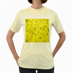Flowery Yellow Fabric Women s Yellow T-Shirt