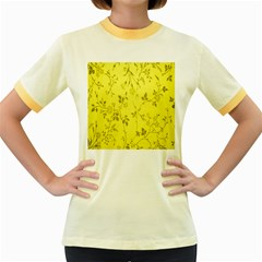 Flowery Yellow Fabric Women s Fitted Ringer T Shirts