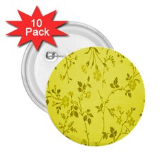 Flowery Yellow Fabric 2 25  Buttons (10 Pack)
