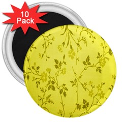 Flowery Yellow Fabric 3  Magnets (10 Pack)