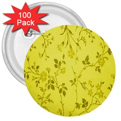 Flowery Yellow Fabric 3  Buttons (100 pack)