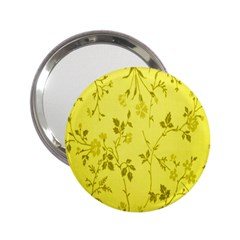 Flowery Yellow Fabric 2.25  Handbag Mirrors