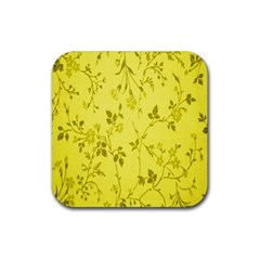 Flowery Yellow Fabric Rubber Square Coaster (4 pack)