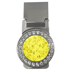 Flowery Yellow Fabric Money Clips (CZ)