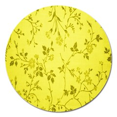 Flowery Yellow Fabric Magnet 5  (Round)