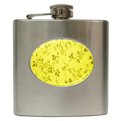 Flowery Yellow Fabric Hip Flask (6 Oz)