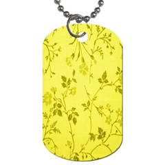 Flowery Yellow Fabric Dog Tag (Two Sides)