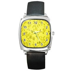 Flowery Yellow Fabric Square Metal Watch