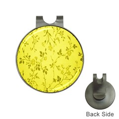 Flowery Yellow Fabric Hat Clips with Golf Markers