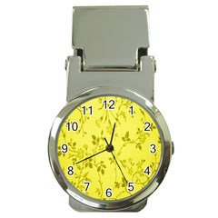 Flowery Yellow Fabric Money Clip Watches