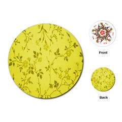 Flowery Yellow Fabric Playing Cards (Round)