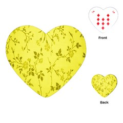 Flowery Yellow Fabric Playing Cards (Heart)