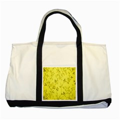 Flowery Yellow Fabric Two Tone Tote Bag