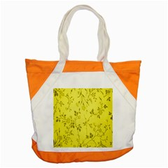 Flowery Yellow Fabric Accent Tote Bag