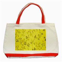 Flowery Yellow Fabric Classic Tote Bag (red)