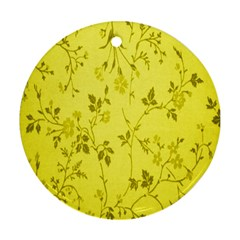 Flowery Yellow Fabric Round Ornament (two Sides)