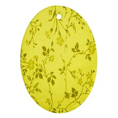 Flowery Yellow Fabric Oval Ornament (two Sides)