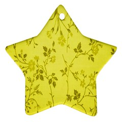 Flowery Yellow Fabric Star Ornament (Two Sides)