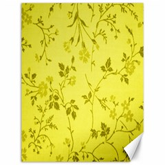 Flowery Yellow Fabric Canvas 12  X 16