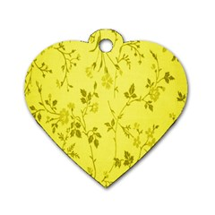 Flowery Yellow Fabric Dog Tag Heart (one Side)