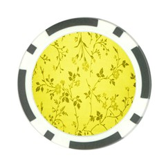 Flowery Yellow Fabric Poker Chip Card Guard