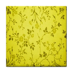 Flowery Yellow Fabric Face Towel