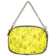 Flowery Yellow Fabric Chain Purses (One Side)