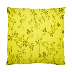 Flowery Yellow Fabric Standard Cushion Case (One Side)