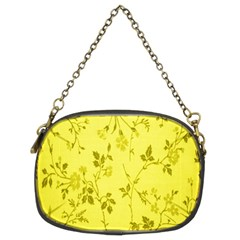 Flowery Yellow Fabric Chain Purses (Two Sides)