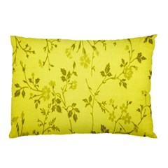 Flowery Yellow Fabric Pillow Case