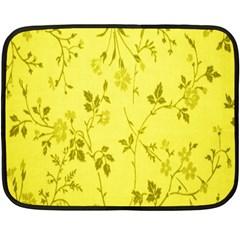 Flowery Yellow Fabric Double Sided Fleece Blanket (Mini)