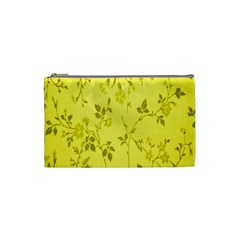 Flowery Yellow Fabric Cosmetic Bag (small)