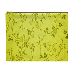 Flowery Yellow Fabric Cosmetic Bag (XL)