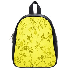 Flowery Yellow Fabric School Bags (Small)