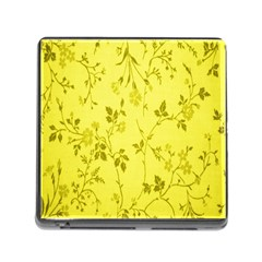 Flowery Yellow Fabric Memory Card Reader (Square)