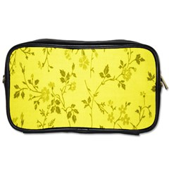 Flowery Yellow Fabric Toiletries Bags 2-Side