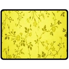 Flowery Yellow Fabric Fleece Blanket (Large)