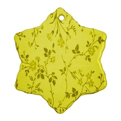 Flowery Yellow Fabric Snowflake Ornament (two Sides)