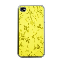 Flowery Yellow Fabric Apple iPhone 4 Case (Clear)