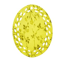 Flowery Yellow Fabric Oval Filigree Ornament (two Sides)