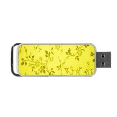 Flowery Yellow Fabric Portable USB Flash (Two Sides)