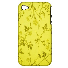Flowery Yellow Fabric Apple iPhone 4/4S Hardshell Case (PC+Silicone)